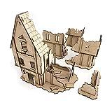 Pwork Wargames Medieval Lost Burg 01 - Escenografía de Ciudad Medieval para miniaturas en Escala 28mm / 35mm - Miniaturas de Mesa Wargame Terreno de escenografía 3D - MDF 3mm