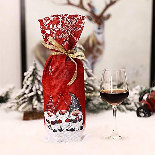 xingchen - Bolsas para botellas de vino de Navidad, para decoración de botellas de vino, para Navidad, cena, degustación de vino, decoración de mesa (color: rojo)