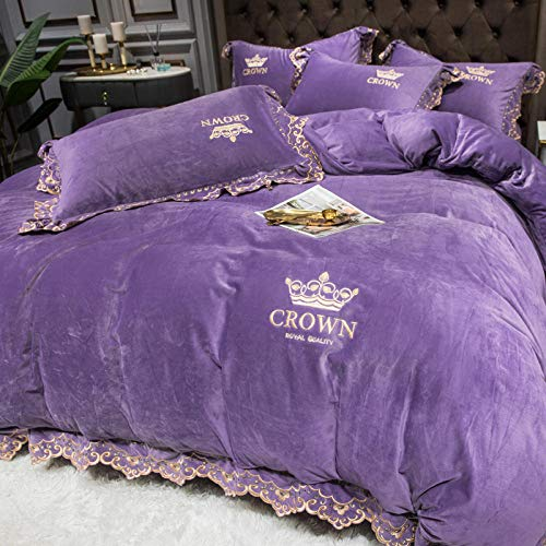 Geekcook 4 Piece Comforter Set,Four-Piece Coral Fleece Bed Double-Sided Falai Crystal Flannel Winter Milk Baby Flannel Duvet Cover-Lilac_Suitable for 2.0m Bed