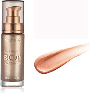 Foundation Liquid,PHOERA Concealer Full Coverage Face Smooth Setting Foundation,Body Shimmer Make Up Liquid Brighten Liquid Foundation by lotus.flower (Rose Gold)