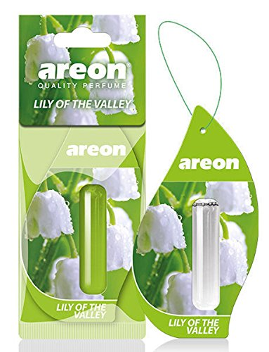 AREON Liquid Auto Duft Maiglöckchen Blume Autoduft Duftflakon Parfüm Flakon Lufterfrischer Aufhängen Hängend Anhänger Spiegel Grün 5ml 3D (Lily of The Valley Pack x 1)
