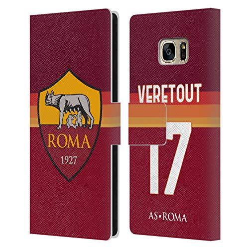 Head Case Designs Licenza Ufficiale AS Roma Jordan Veretout 2020/21 Giocatori Home Kit Gruppo 1 Cover in Pelle a Portafoglio Compatibile con Samsung Galaxy S7 Edge