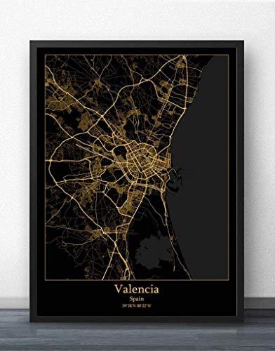 Rompecabezas 1000 Piezas para Adulto Negro Oro España Zaragoza Mapa De La Ciudad Puzzles Grandes DIY Intellect Madera Padre Niño Matando Tiempo Divertido Juegos Regalo para Los Niños