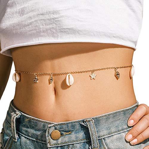 Cadena de cuerpo de Metal para el vientre, cadena de cintura para la playa, cinturón ajustable de verano, accesorios para el cuerpo, joyería para mujeres, niñas, vestido, Bikini