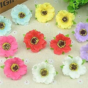 20pcs/lot 4cm Mini Poppy Silk Cherry Blossoms Artificial Rose Flower Heads for Wedding Decoration Scrapbooking DIY Wreath Flower (Color : Mix)