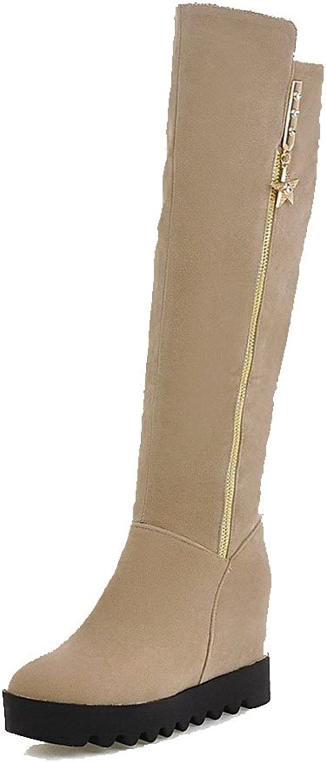 WeenFashion Women's Round Closed Toe High-Heels Dull Polish High-top Solid Boots