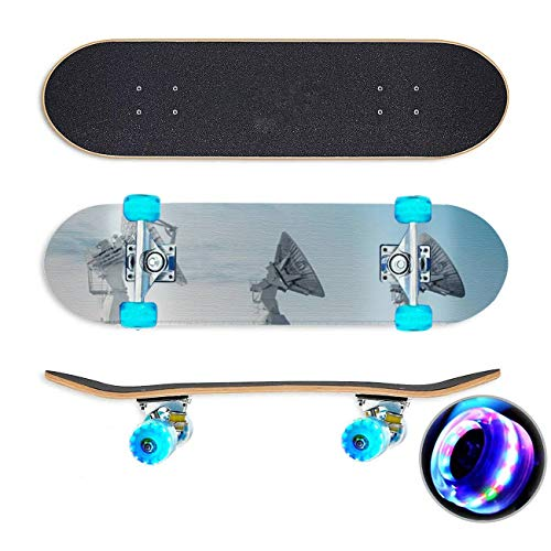 UYDBKSJABM Trio of Satellite Dishes Skateboard Colorful Flashing Wheels Extreme Sports&Outdoors 31''Cruiser Complete Standard Longboard Beginners Kids Cool Boys Teen