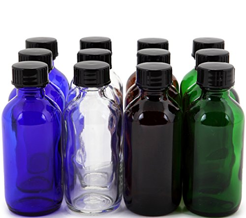 Vivaplex, 12, Assorted Colors, 1 oz Glass Bottles, with Lids