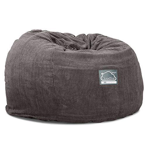 Lounge Pug, CloudSac 510 XL, Grand Pouf à Mémoire de Forme, Canapé, Pompon Anthracite