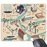 beatChong Goma Mousepad del Juego Alfombrilla de ratón Regalo de Viajes a Singapur Turismo Ruta del rectángulo Antideslizante