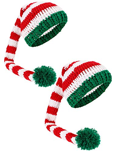 Boao 2 Pcs Christmas Long Tail Hat Santa Pom-pom Knit Beanie Hat for Christmas(Green)