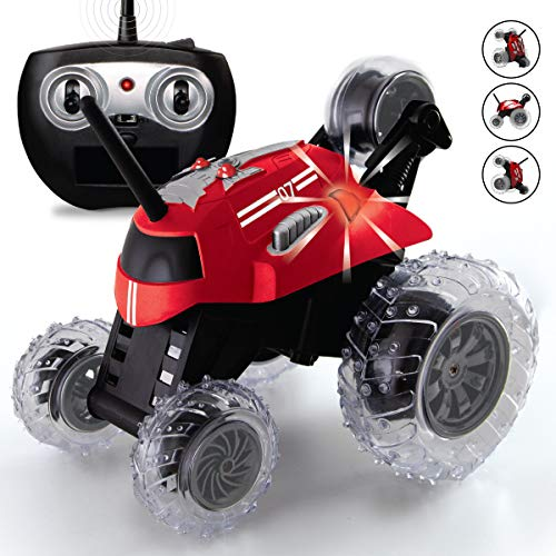 SHARPER IMAGE Thunder Tumbler Toy RC Car for Kids, Remote Control Monster Spinning Stunt Mini Truck for Girls and Boys, Racing Flips and Tricks with 5th Wheel, 27 MHz RED