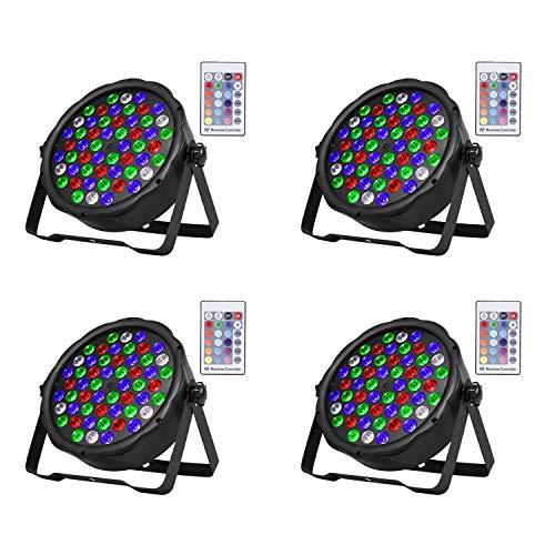 SHEHDS Wireless Remote LED Stage Lights 54x3W LED Par Light RGBW DMX 512 Stage Lighting for Home Party Wedding DJ Show Club Concert Dance Floor Lighting - 4 Pack