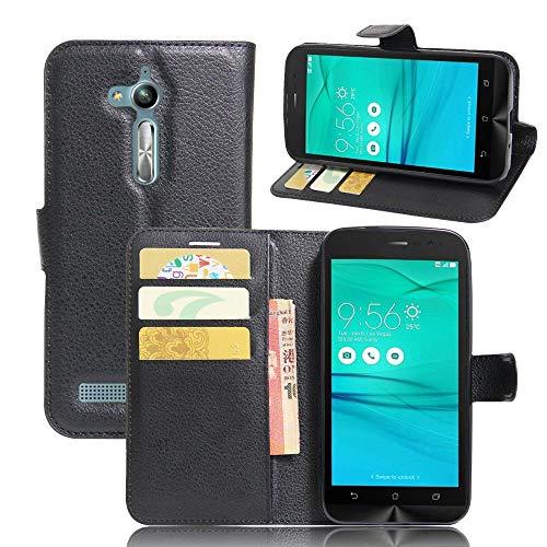 Sangrl Funda para ASUS Zenfone Go ZB500KL(5.0pulgada), Billetera Funda Piel PU Flip Folio Carcasa para ASUS Zenfone Go ZB500KL(5.0pulgada), Soporte Plegable - Negro
