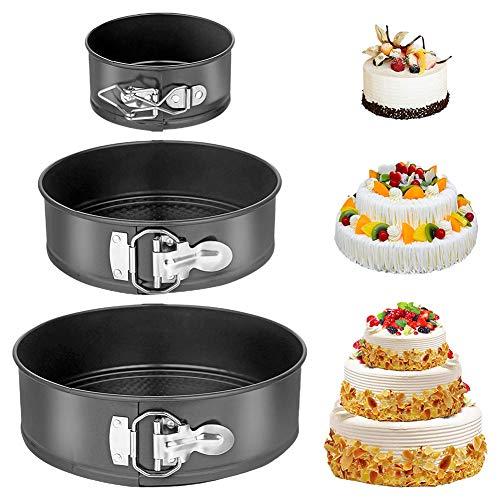 XYDZ 3Stück Kuchenform Rund, Springform Cake Pans Set mit Flachboden Kuchenformen auslaufsicher Runde Backform, Antihaftbeschichtet Springform Set 18cm/20cm/22cm