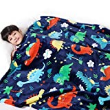 Lukeight Dinosaur Blanket for Boys, Kids Dinosaur Throw Blanket for Boys and Girls, Fluffy Cozy Dinosaur Fleece Blanket with Vibrant Colors and Cute Design, Soft and Warm Throw Blanket - 50x60 Inches