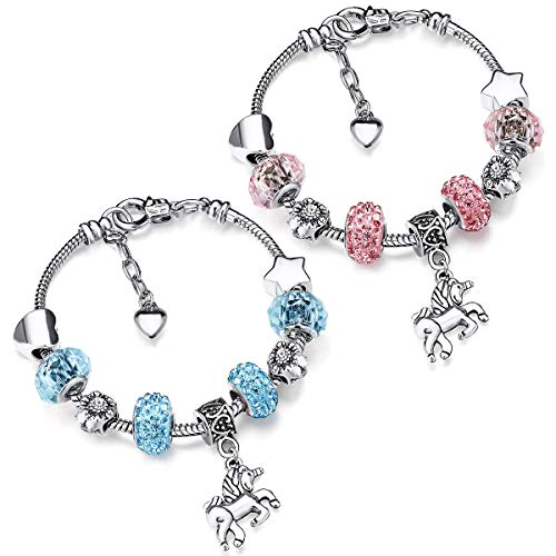 Pulsera con Dijes de Unicornio,Guador 2 Piezas Pulsera para Niñas con Abalorios Colgante de Unicornio Dulce Perlas de Cristal Rosa Plata Pulsera(Azul Rosado)