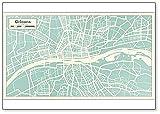 Orleans - Mapa de la ciudad de Francia en estilo retro. Imán para nevera con ilustración de mapa de esquema