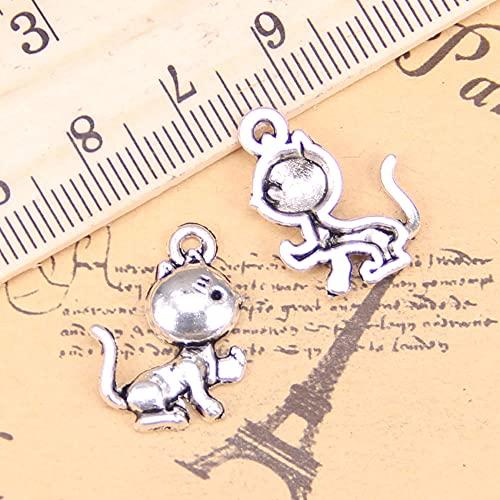 WANM Encanto Colgantes Antiguos Gato 21X15Mm Joyería Tibetana Vintage DIY Plata para Pulsera Y Collar 24 Piezas