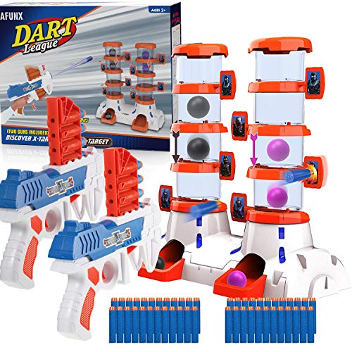 Afunx Shooting Game Toy for Age 5, 6, 7, 8, 9,10+, Shooting Target Toy Guns for Kids with 2 Foam Dart Toy Guns, 4 Target Balls and 24 Foam Darts, Perfect Gifts for Boys and Girls