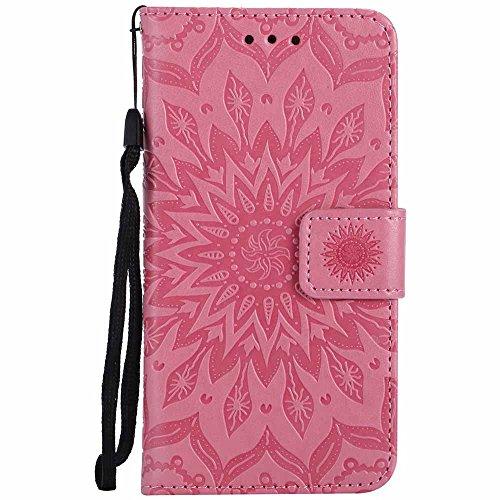 Capa para iPhone 6/iPhone 6S de 4,7 polegadas, Dfly de couro sintético macio em relevo design mandala suporte para cartão, capa carteira protetora flip fina para iPhone 6/iPhone 6S 4,7 polegadas, rosa