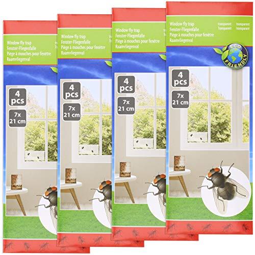 Preisvergleich Produktbild com-four® 16x Fliegenstreifen,  Fliegen-Köder Streifen für Insekten-Bekämpfung,  Fraßköder Fenster-Fliegenfalle als Aufkleber gegen Fliegen,  Mücken im Haus (16 Stück - Streifen)