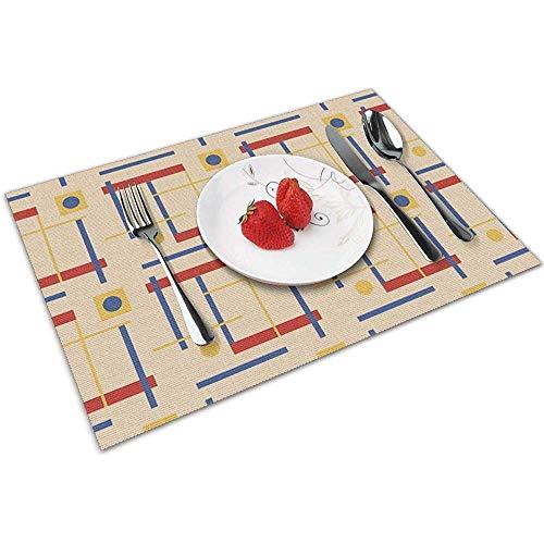 Strawberryran Eine Anspielung auf Bauhaus Circle Tischsets für Esstisch, waschbares Tischset, hitzebeständig, 6er-Set (12 x 18 Zoll)
