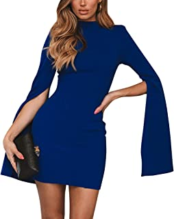 IyMoo Sexy Dresses for Women Party Club Night - Club Outfits Split Long Sleeve Backless Bodycon Midi Dress