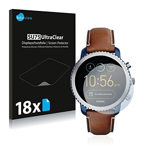 Savvies 18x Schutzfolie kompatibel mit Fossil Q Explorist (3.Gen) Bildschirmschutz-Folie Ultra-transparent