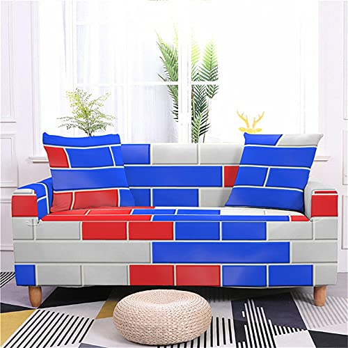 Fansu Funda de Sofá Elástica para Sofá de 1 2 3 4 Plazas, Ajustable Patrón de Pared de Ladrillo 3D Cubre Sofa, Antisuciedad Antideslizante Protector de Muebles (Rojo Azul Blanco,2 plazas(145-185cm))