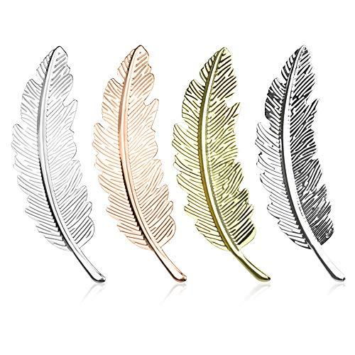 HTIANC 4 Stück Metall Feder Haarspange Haarschmuck Haarclip Elegante Haarklammer Feder Blatt Haarnadeln für Party, Fotografie, Hochzeit und Alltag, 4 Farben