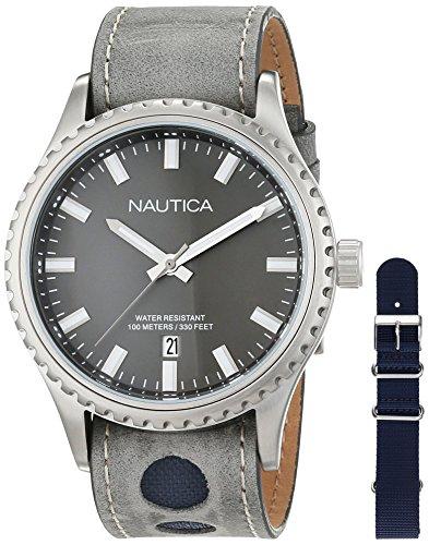 Nautica Reloj Analogico para Hombre de Cuarzo con Correa en Cuero NAD14532G