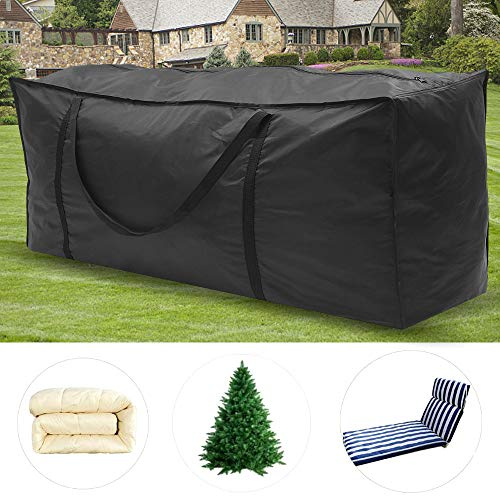 Garden Furniture Cushion Storage Bag Large Heavy Duty Waterproof Rectangle Furniture Seat Protector Cushion Cover with Zipper Christmas Tree Home Accessories Storage Bag(Black, 120*40*55CM)
