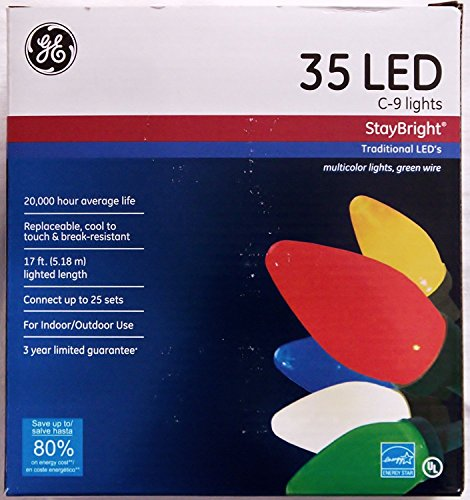 GE StayBright Multi-Colored C9 LED String Set, 35 Count Pack of 1