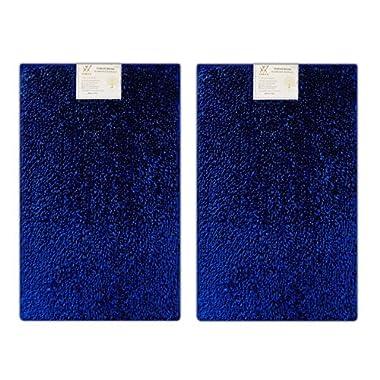 Verxii Home Luxury Bath Mat Rug Set For Bathroom | Memory Foam No-Slip Extra Soft Contour Multiple Choice (2-PCS Combo E, Bright Blue)