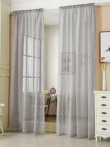 Transparente Gardine mit Kräuselband 1 Stück Fensterschal in Leinen-Optik Dekoschal in Hellgrau 140x225 cm Fenstervorhang für Schlafzimmer Kinderzimmer Küche Stores Vorhang