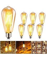 Vintage Edison Bombilla GolWof 6 Piezas Bombillas Edison E27 Bombilla de Filamento LED 360° Ámbar para Lluminación y Retro Decoración (Forma largo)