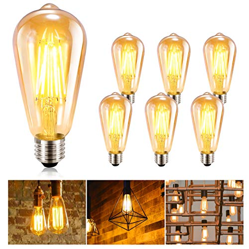 Ampoule LED Edison GolWof Lot de 6 Ampoule Edison Vintage E27 Ampoule Rétro Ampoule Filament Lampe 360° Grand Angle Décorative pour Maison Restaurant Café - Blanc Chaud (Forme longue)