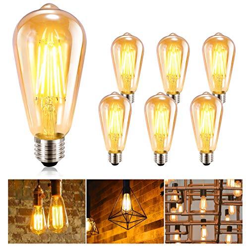 LED-Glühbirne Edison GolWof 6er Pack Vintage Edison-Glühbirne E27 Retro-Glühbirne Filament Glühbirne 360 ° Weitwinkel dekorative Lampe für Home Restaurant Cafe - Warmweiß (lange Form)