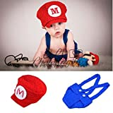 Osye Baby Crochet Knitted Outfit Mario Hat Costume Set Photography Photo Props, Red