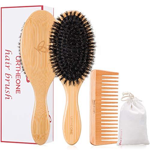 Cepillo de pelo y peine de cerdas de jabalí para mujeres, hombres y niños, el mejor cepillo de bambú natural con peine de madera para desenredar pelo fino y normal, largo o seco añade brillo.