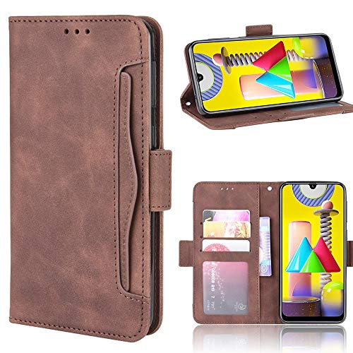 Miimall Handyhülle für Samsung Galaxy M31, Premium PU Leder Flip Hülle Wallet Hülle mit Kartenfach Magnetverschluss Standfunktion Lederhülle Schutzhülle für Samsung Galaxy M31 - Braun