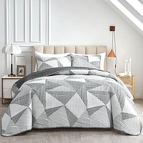 Joyreap 2-teiliges Steppdecken-Set für Doppelbett, geometrisches Dreieck, weißes Muster, weiche Mikrofaser, Tagesdecke, Bettbezug alle Jahreszeiten, 1 Steppdecke & Kissenbezug, 172,7 x 218,4 cm