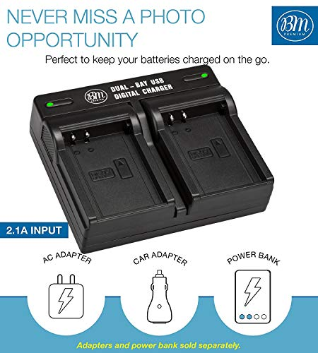 BM Premium 2 Pack of Fully Decoded BL-H1 Batteries and Dual Bay Charger Kit for for Olympus OM-D E-M1 Mark II, OM-D E-M1 Mark III, OM-D E-M1X, BCH-1, HLD-9 Cameras New Hampshire