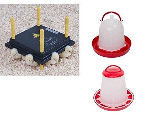 Kükenwärmeplatte Wärmeplatte für Küken 30 x 30 cm Set 1 mit Tränke und Futtersilo