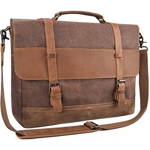 Bolso de hombre de piel estilo vintage de cuero y lona – ideal para llevar el portátil