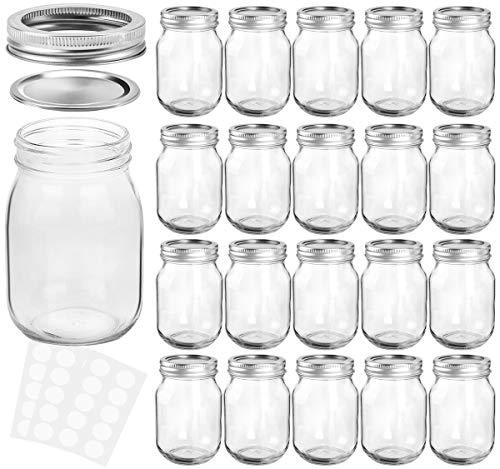 KAMOTA Mason Jars 12 oz With Regular Lids and Bands, Ideal for Jam, Honey, Wedding Favors, Shower Favors, Baby Foods, DIY Magnetic Spice Jars, 20 PACK, 30 Whiteboard Labels Included