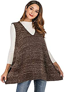 LICHONGGUI Long Section of Loose V-Neck Vest Knitted Pockets Pullover 2020 hot Tops (Color : Brown, Size : L)