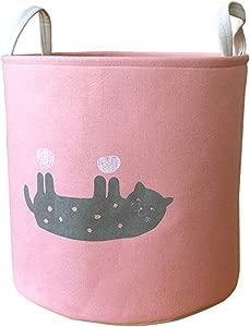 Znvmi Nursery Toys Storage Basket Cute Animal Laundry Hamper Foldable Fabric Clothes Washing Bin Home Organizer with Handle Pink