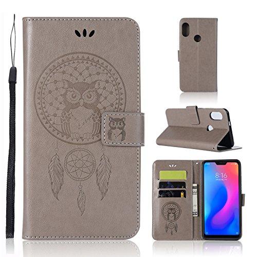 """Zchen Funda Xiaomi Redmi Note 6 Pro, Funda Piel con Tapa Suave TPU y Cuero de PU Tipo Libro Billetera Resistente a los Golpes Carcasa para Xiaomi Redmi Note 6 Pro 6.26"""" (Atrapasueños Búho-Gris)"""